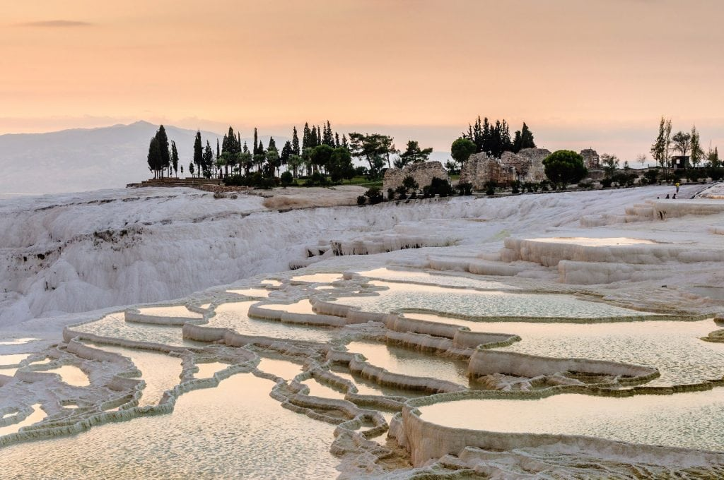 Travertine formation in Pamukkale, Turkey