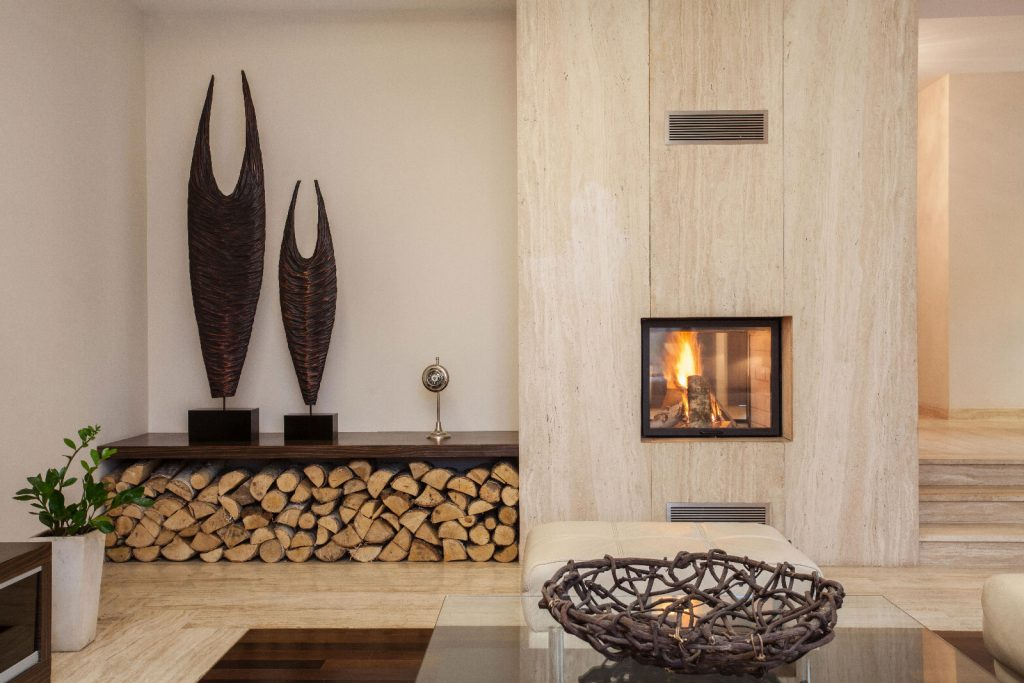 Travertina fireplace