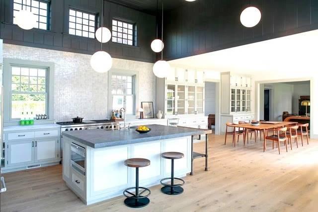 Open Kitchen Two Toned Charcoal Gray White Dining Room Wegner Chairs Mosaic Backsplash Light Hardwood Wood Floors Kitchen Island Cococozy Dan Scotti Design, Primestones® Granite, Quartz, Marble