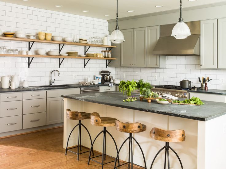 Soapstone Kitchen With Subway Tile Backsplash, Primestones® Granite, Quartz, Marble